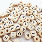 100x Square Wooden Alphabet Letter Number DIY Beads Baby Smooth Teether