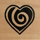 Hot Potatoes Wood Mounted Rubber Stamp Swirl Solid Heart
