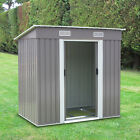 6 x 4 Outdoor Storage Utility Shed Steel Tool House Backyard Garden Lawn Gray