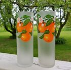 2 Vintage Libbey Orange Frosted Ice Tea Highball Glasses Tom Collins Tumbler Set