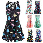 Women Summer Sleeveless Vest Dinosaur Strapless Casual Beach Lady Mini Sundress