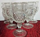 VINTAGE SET OF (6) INDIANA GLASS DIAMOND POINT CLEAR WATER GOBLETS 6 1/2