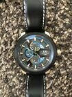 NEW Ulysse Girard 14083 Mens Masson Gold Case Blue Accent Black Leather Watch