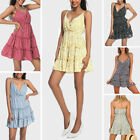 Women Summer Spaghetti Strap Short Mini Dress Party Beach Swing Dresses Sundress