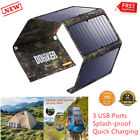 27W Solar Panel 3 USB Battery Charger Power Bank For Camping Cell Phone Tablet