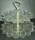 2 Tier Petal Glass Tray Tidbit Candy Cookies Appetizers 1960's Federal Glass