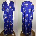 Vintage One Size Made In Hawaii Blue Bird of Paradise Floral Maxi Kimono Dress