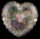 Fenton Art Glass Hand Painted Roses On Crystal Carnival Heart Box