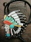 HUGE Vintage Zuni Native American Sterling Silver Indian Chief Bolo Tie