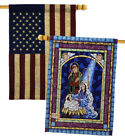 Stained Glass Nativity USA Vintage Applique House Flags Pack HP114123 BOAA