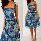 OLD NAVY Blue Green Purple Yellow Floral Chiffon Ruffle Dress XL Extra Large