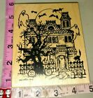 Big haunted house very rare stamp NorthwoodsC37rubber stamp wood