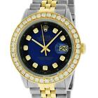 Rolex Men's QuickSet Datejust SS and 18K Yellow Gold Blue Vignette Diamond Watch