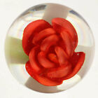 A STUNNING Miniature Vintage Signed WESLEY LUTZ Crimp Rose Art Glass Paperweight