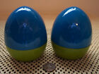 Vintage Salt And Pepper Shakers Blue And Green Retro Feel