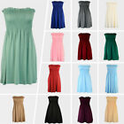 Womens Strapless Mini Smoken Sheering Boob Tube Bandeau Top Shirred Summer Dress