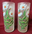 Vintage Libbey frosted ASTER FLOWERS PAIR TALL GLASSES 6