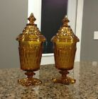 Two Vintage Indiana Amber Glass Candy Dishes with Lids