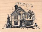 Christmas Winter Farm House in Snow Wood Mount Rubber Stamp Unique NEW Snowman
