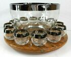 Vintage Dorothy Thorpe Silver Rim Roly Poly Punch Bowl with 12 Glasses Mad Men