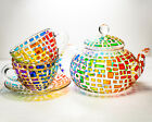 Tea Set Colorful Teapot with 2 Cups and Saucers Geometric Design Teapot Rainbow