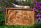 Holy family Nativity WOOD CARVED CHRISTIAN ICON RELIGIOUS WALL HANGING ART WORK