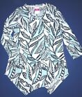 FRESH PRODUCE Large White PALM Leaves ELLA Crossover Pocket TUNIC Top 65 NWT L