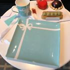 TIFFANYCo Dessert Plate Blue Ribbon Bone China Porcelain Gift New With Box Bag