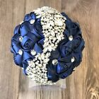 Navy Blue Silk Rose Silver Brooch Bouquet Bride Bridesmaid Wedding Toss Flower