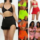 US Women Sexy 2 PCS Bodycon Two Piece Crop Top and Skirt Set Lace Up Dress Party
