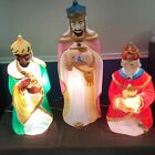 Large Size Nativity Set of 3 Wise men Lighted Plastic Blow Mold VTG Empire 1982