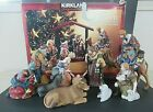 Kirkland Porcelain Nativity Set 75177 w Wood Creche 11 Piece