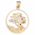 New Solid 14Kt Gold Elm Bonsai Tree In Circle Pendant 40 Grams