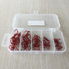 50Pcs Fishing Hooks Set Red Sharpened Treble Hook 2 4 6 8 10 Fishhook Tackle