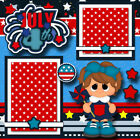 JULY 4TH GIRL 2 premade scrapbook pages paper piecing CHERRY prints 0069