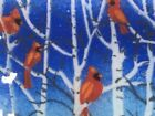 PEGGY KARR WINTER CARDINALS 10X6 TRAY FUSED GLASS SIGNED W BOX PERFECT