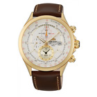 ORIENT CHRONOGRAPH ALARM DATE WHITE DIAL BROWN LEATHER MENS WATCH FTD0T001N0 NEW
