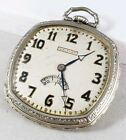Beautiful 1920s Art Deco Waltham Square Pocket Watch with Secometer Repair