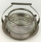 Vintage Pressed Glass Punch Bowl w/ Handles w/ Carrying Tray Silver Plated