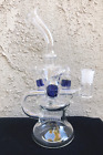 Hookah Water Pipe Glass Bong 9 Percolator Dual Recycler With Bowl Included