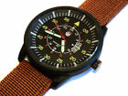BLACK Aviator's 45mm Pilot's Military Army Date Brown Canvas Straps Watch