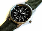 42mm PILOT's Aviator's Army Military Date GREEN Canvas Straps Wrist Watch