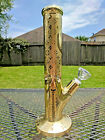 Gold Diamond Glass Water Pipe Bong 13 Tall  7mm Thick Sandblasted