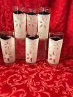 6-VINTAGE MCM TALL ICED TEA OR COLLINS DRINKING GLASSES WITH SNOWFLAKES, FROSTED