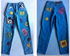Vintage 90s Mickey Mouse Jeans Size 7 8 Cut And Sew Patches Disney High Waisted