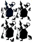 BUBBLE BUTT WITCH CAT LADY W ALL HER CATS SILHOUETTE DIE CUT CUTS 13 pcs