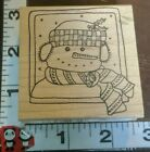 Snowman in picture frame714Lockhart stamp cowoodenrubberstamp