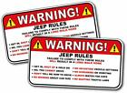 2 Pack Jeep Rules Safety Funny Adhesive Sticker Decal 2 Pack Offensive Joke Usa