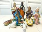 Christmas Nativity 9 Piece Hand Painted Large Figure Set VTG Made In Italy