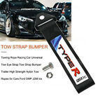 Black TYPER Racing High Strength Universal Nylon Car Trailer Tow Ropes Strap Tow